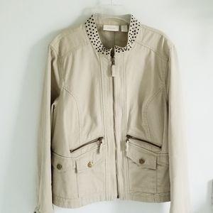 Chico's tan cotton utility jacket stud collar L